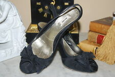 PRADA MIU MIU BLACK MATERIAL HIGH HEEL SLING BACK PEEP TOE BOW WOMEN'S SZ 36 1/2