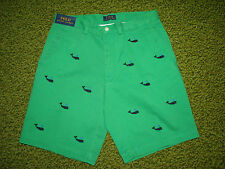 "Men's $95. POLO-RALPH LAUREN Green WHALE Shorts (32)  FLAT FRONT ""PROSPECT"""