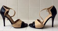 CHANEL BEIGE BLACK Nude LEATHER OPEN TOE MARY JANE PUMPS HEELS  Sz 37