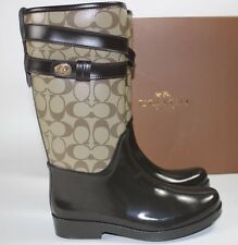 NIB COACH Women's Size 8 Khaki SIG C Rubber Mahogany Leather TRISHA II Rain Boot