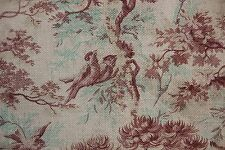 1880 French bird CURTAIN  printed cotton twill weave upholstery weight antique~