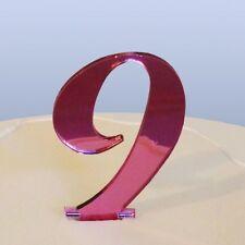 Numero 9 Sceneggiatura Rosa Specchio Acrilico Decorazione Torta Circa 6cm-4cm