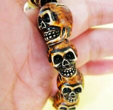 Man's cool skull head beads jewelry  fine bracelet 20cm 38g