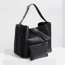 NEW ZARA WOMENS GENUINE LEATHER BRAIDED BLACK SHOULDERS BAG WITH POUCH RARE