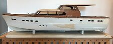 "Vintage Large 40"" Wood Model Boat Gemini Yacht Cira 1950s"