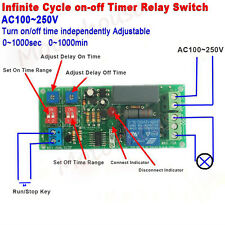 AC 110V 220V Infinite Cycle Delay Timing Timer Relay ON OFF Switch Loop Module