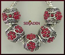 5 Red Stone Spacers Charms Fits European Style Jewelry 10 * 11 & 5 mm Hole  R099