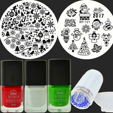 7Pcs Christmas Nail Art Stamp Plates Stamping Polish W/Jelly Stamper DIY