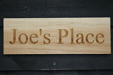 Custom Engraved Oak Wood Sign for House / Stable / Boat / Door Name Plate Plaque