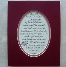 Loving True SISTER IN LAW Loyal FRIEND Rare Gift GOD MADE poems verses plaques