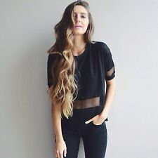 Sold Out! brandy melville black mseh detailed  short sleeved Manoela Top OS