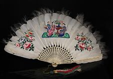A 19th c. Chinese Painted Feather Brisé Fan - Polychrome Decoration, (a).