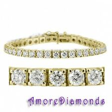 6.5 ct F SI round natural diamond tennis bracelet 14K yellow gold 6 1/2 inches