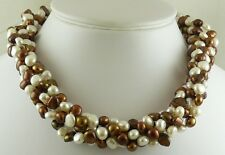 Freshwater Chocolate and White Pearl Chocker Neckalce and Sterling Silver Clasp