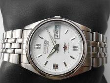 Excellent SS Vintage White Dial Citizen 21 Jewel Mens Automatic WristWatch Rare