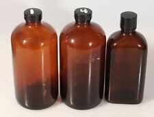 DARKROOM PHOTOGRAPHY BROWN CHEMICAL STORAGE BOTTLES, SET OF 3