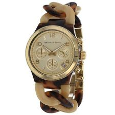 MICHAEL KORS WOMEN'S  TORTOISE & HORN CHAIN-TWIST BRACELET WATCH MK4270