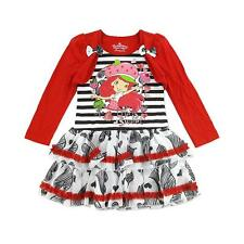 NWT Strawberry Shortcake Kid Girl Red L/S Dressy Ruffle Floral Shrug Dress 5T 5