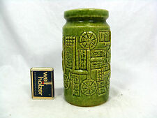 "Beautiful lime - green 70´s design BAY "" Relief "" Keramik pottery vase  957 - 14"