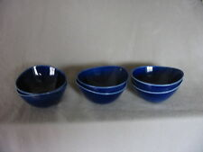 RORSTRAND MID CENTURY BLA ELD BLUE FIRE CEREAL/SOUP BOLWS - SET 6 + 2 SAUCERS