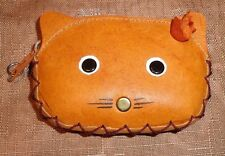 VINTAGE CAT COIN PURSE  LEATHER 1970S RETRO KITTY POUCH ZIP