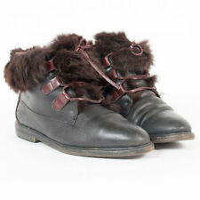 VINTAGE BLACK LEATHER BOOTS SHOE RABBIT FUR TRIM WINTER WALKING UK 4.5 EU 37.5
