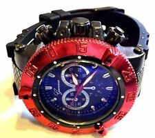 Men's Oversize Fashion Watch Geneva Mc41531 Black Silicone Band Red Bezel