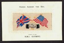 HANDS ACROSS SEA SILK POSTCARD WHITE STAR LINE RMS OLYMPIC TITANIC SISTER c1915