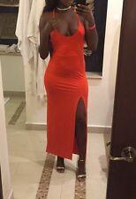 Da Donna Boohoo Arancione Sexy SPLIT Maxi Abito Taglia 10