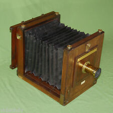 MEAGHER GIANT RARE WET PLATE 10 x 10 TAILBOARD CAMERA MAHOGANY BRASS WOOD c 1870