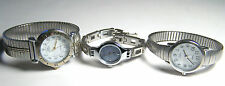 NICE COLLECTION OF THREE GENTLY WORN  SILVER-TONED LADIES TIMEX WATCHES,