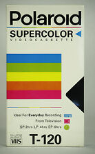 NOS Polaroid T-120 Supercolor VHS Video Cassette 6 Hrs in EP Mode Factory Sealed