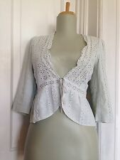 Rebecca Taylor sz 4 Blue Embroidered Eyelet Lace Tie Wrap Cardigan Top Shrug S