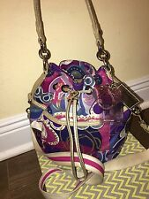 COACH POPPY CINCH POP C PRINT HANDBAG PURSE BAG 18314 MULTICOLRED RARE