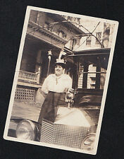 Antique Vintage Photograph Woman Standing By Cool Old Antique Automobile Car