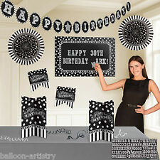 Classic Black & White Birthday Party Garland Cutouts Fans Room Decorating Kit