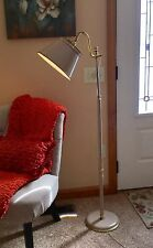 Vtg Tole Ware Toleware Floor Lamp Bouillotte French Art Deco Reading Taupe Beige