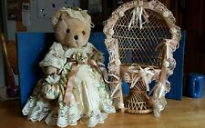 Bearable Memories Old Fashioned Jointed Teddy Bear Doll by ANCO w/wicker Chair