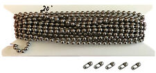 20ft. Nickel Plated Vertical Blind Chain, 4.5mm Ball Diameter.With 5 connectors