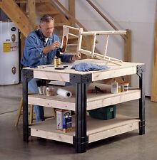 Work Bench Table Shop Garage Tool Kit Storage Shelf Craftsman Solid Hard Wood