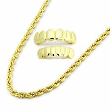"Mens 14K Gold Plated 4mm 24"" Rope Necklace Chain And Set Of Grillz"