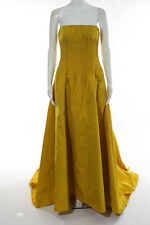 Oscar de la Renta Yellow Strapless Ruched Pleated Waist Evening Gown Size 4