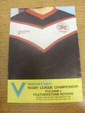 28/08/1983 Rugby League Programme: Fulham v Featherstone Rovers [At Fulham FC] (