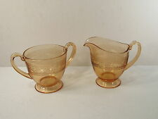"FOSTORIA ""ROYAL"" #273 ETCH (1925-1933) - AMBER GLASS CREAM PITCHER & SUGAR BOWL"