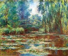 "Water Lily Pond and Bridge by Monet, 8"" x 10"", Giclee Canvas Print"