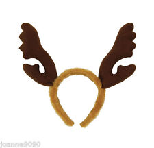 New Christmas Brown Fur Reindeer Rudolph Headband Antlers Stag Party Fancy Dress