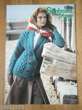 VINTAGE KNITTING PATTERN SUNBEAM 1499 LADYS ARAN SHAWL COLLAR JACKET TO KNIT