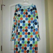 Patsy Aiken chez ami belle cotton blue spots polka dot tunic dress Small  NEW