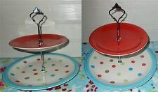 2 TIER PASTRY CAKE PLATE STAND DISPLAY RED TOP BLUE MULTI SPOTS