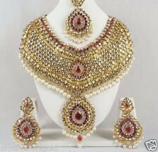 Indian Mughalia Style Bridal Fashion Necklace & Earrings Jewelry Set Gold Plated